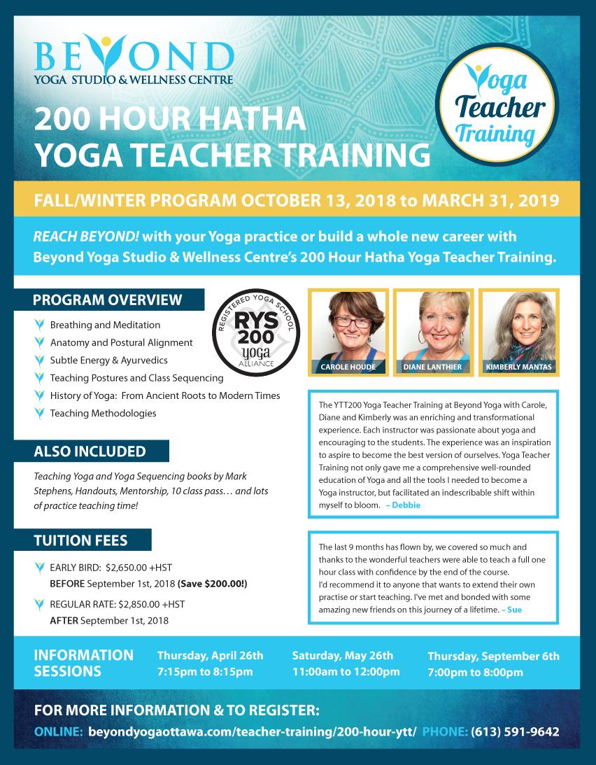 200 Hour Hatha Ytt Beyond Yoga Studio Wellness Centre
